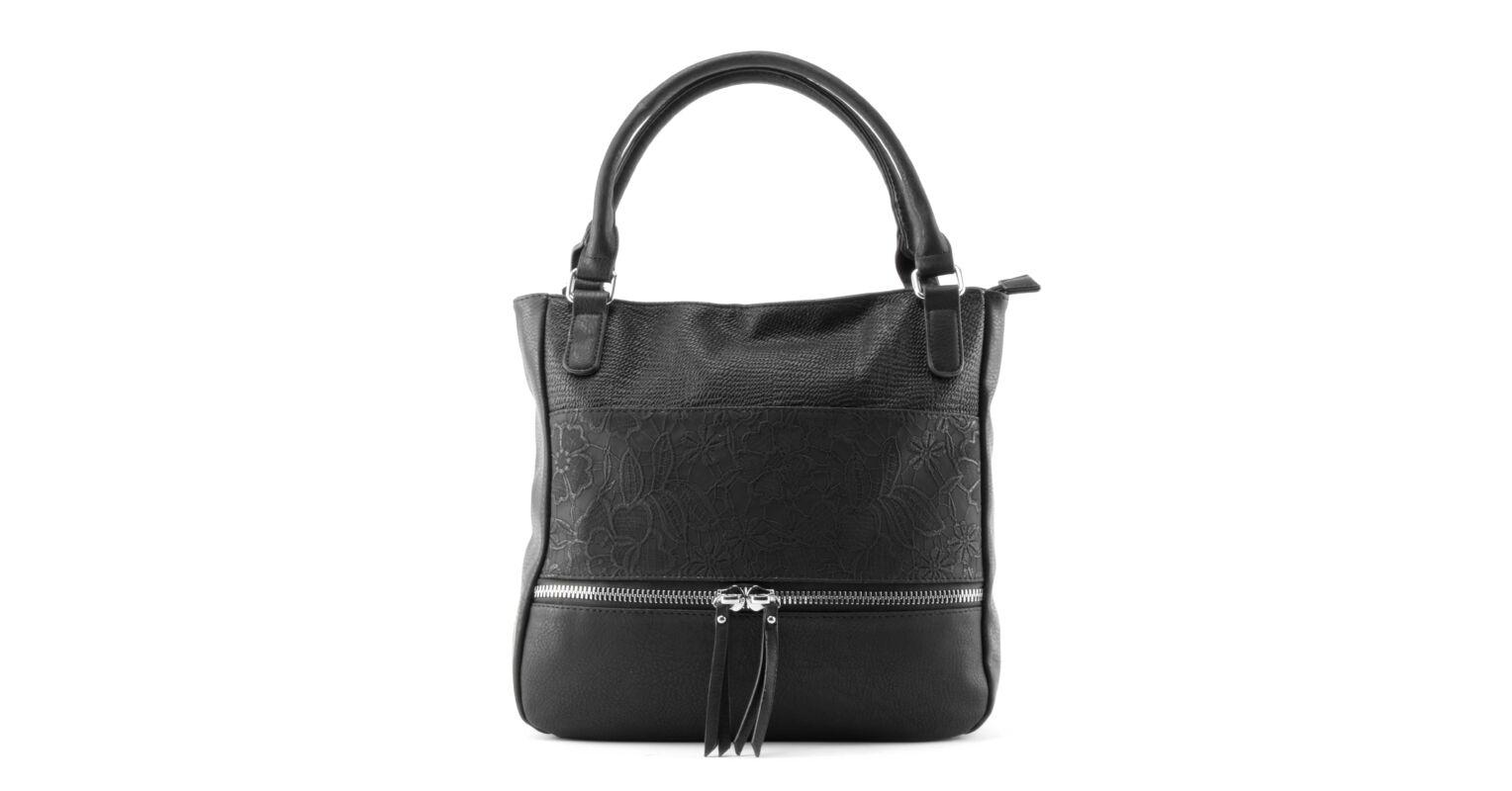 974496287fc8 Fekete Női Virágos Műbőr Válltáska - Válltáskák - Táska webáruház -  Minőségi táskák mindenkinek