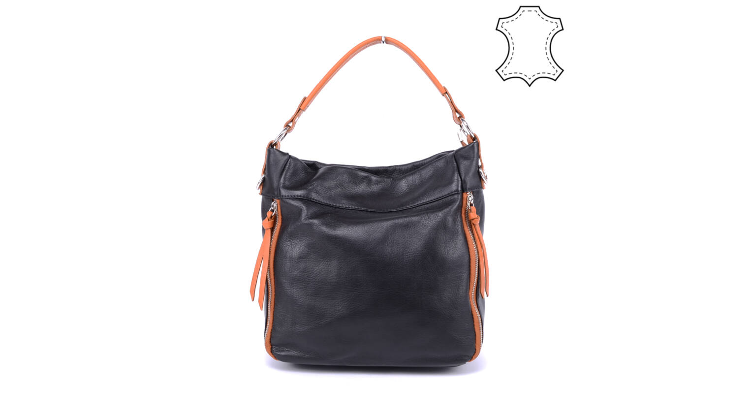 b0f0c78df99c Besty Női Valódi Bőr Fekete-Barna Válltáska - VALÓDI BŐRTÁSKÁK - Táska  webáruház - Minőségi táskák mindenkinek