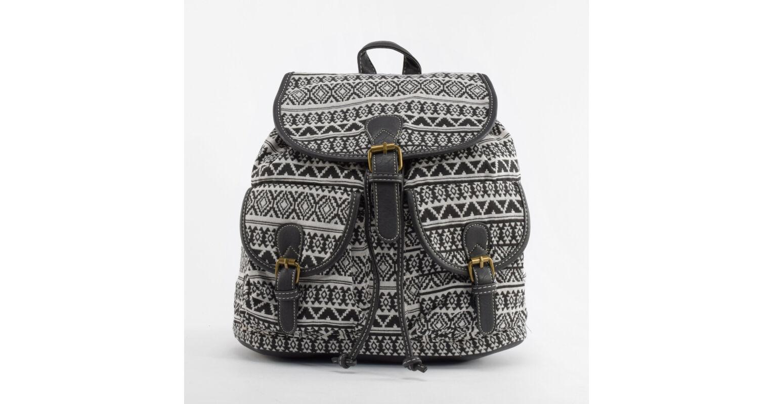 23ba63fbd579 Fekete mintás Női Vászon Hátizsák - Vászon - Táska webáruház - Minőségi  táskák mindenkinek