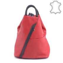 BESTY valódi bőr fekete/piros kis méretű női hátizsák