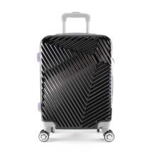 LC-015 fekete nagy méretű PVC bőrönd (77*49*30 cm)