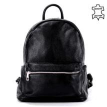 BESTY valódi bőr fekete nagy méretű női hátizsák BES112