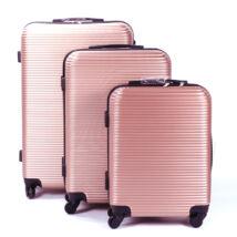 Leonardo Da Vinci Rózsaarany Kemény Bőrönd Szett  (4 Kerekű)