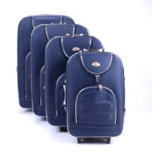 4 Db-Os Puha Bőrönd Szett Kék (2 Kerekű)