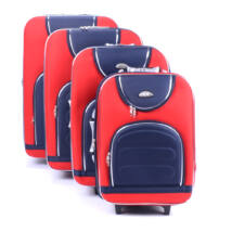 4 Db-Os Puha Bőrönd Szett Piros/Kék (2 Kerekű)