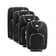 4 Db-Os Puha Bőrönd Szett Fekete (2 Kerekű)