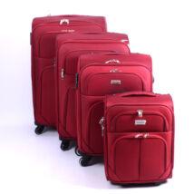 4 Db-Os Puha Bőrönd Szett Bordó (4 Kerekű)