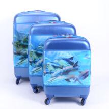 Besty 3 Db-Os Delfines Kemény Bőrönd Szett  (4 Kerekű)