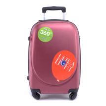 Besty Bordó Kemény Közepes Bőrönd (4 Kerekű)