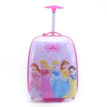 Hercegnős rózsaszín gurulós gyerekbőrönd