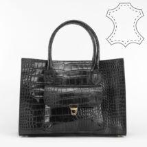 Vivien fekete valódi bőr krokodil hatású női táska
