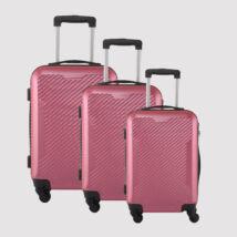 Rózsaszín 4 kerekű  Műanyag Kemény Kabin Bőrönd Szett