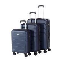 Bontour Spinner Kék  Négy kerekű Kemény falú Bőrönd Szett - 2 Év Garancia