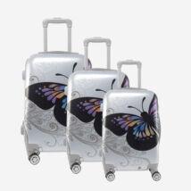 Ormi Ezüst Pillangós Kemény Bőrönd Szett