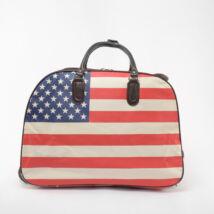 Besty Egyesült Államok zászlajával díszített Szintetikus Két kerekű Utazótáska