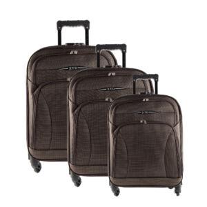 Besty Ultra könnyű barna puha bőrönd szett