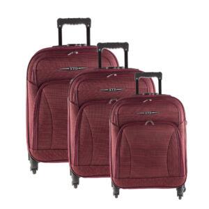 Besty Ultra könnyű bordó puha bőrönd szett