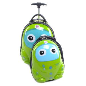 Zöld Mintás Gyerek Bőrönd Kis Hátizsákkal