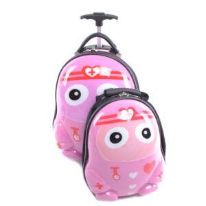 Rózsaszín Mintás Gyerek Bőrönd Kis Hátizsákkal