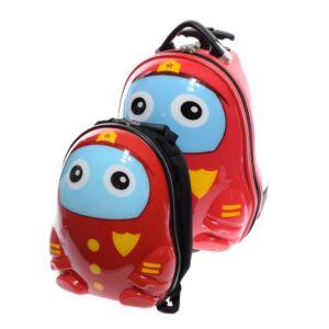 Piros Mintás Gyerek Bőrönd Kis Hátizsákkal