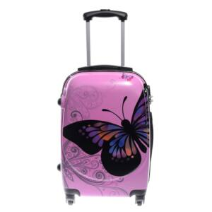 Ormi Rózsaszín Pillangós Kemény Kabin Bőrönd