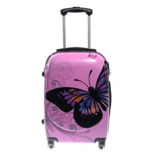 Ormi Rózsaszín Pillangós Kemény Nagy Bőrönd