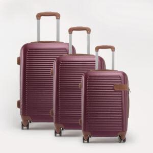 RHINO bordó kemény bőrönd szett