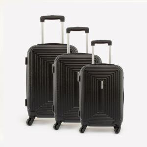 Leonardo Da VInci Fekete Műanyag Kemény Bőrönd Szett