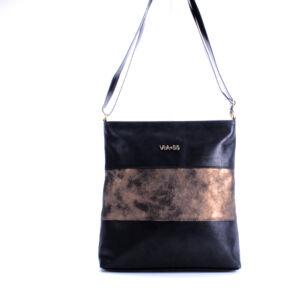 VIA*55 elegáns alkalmi fekete/bronz/fekete átvetős oldaltáska