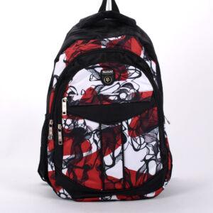 Piros-fehér mintás hátizsák hátizsák