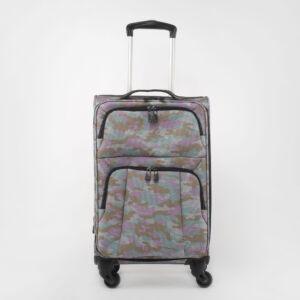Rózsaszín Terep mintás Négy kerekű Extra könnyű Poliészter Nagy méretű Bőrönd