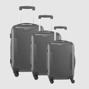 LDV Sötétszürke 4 kerekű  Műanyag Kemény Kabin Bőrönd Szett
