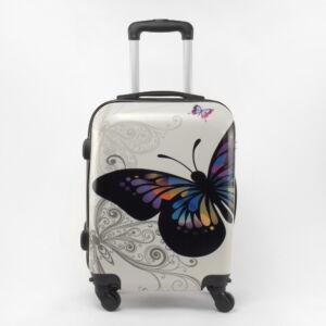 Ormi Fehér Pillangó Mintás Kemény Kabin Bőrönd