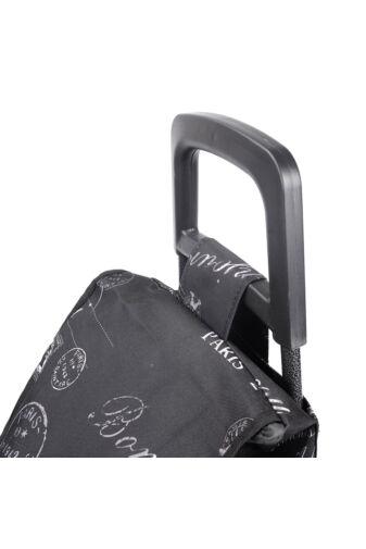 Paris Feliratos Fekete Két Kerekű Bevásárlókocsi