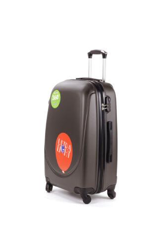 Kávészínű Extra Könnyű Kemény Mini Kabinbőrönd (4 Kerekű)