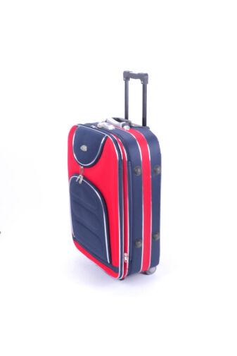 3 Db-Os Puha Bőrönd Szett Piros/Kék (2 Kerekű)