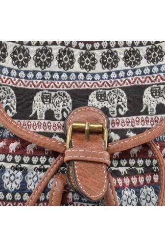 Női Kis Méretű Elefánt mintás Barna Vászon Hátizsák