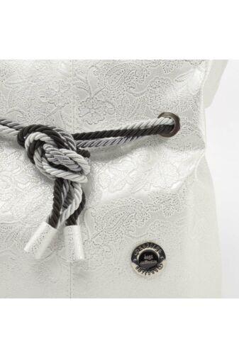 Prestige Ezüst Virágos Női Rostbőr Válltáska