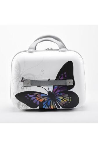 Fehér Pillangó Mintás Bőröndre Akasztható Közepes Méretű Táska  (35 x 16 x 27 cm)