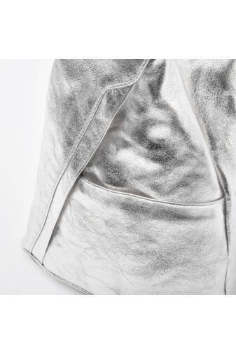 Besty Valódi Bőr Ezüst Kis Méretű Női Hátizsák