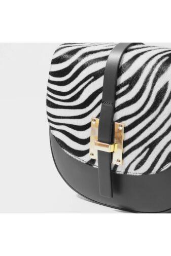 Fehér Zebra Valódi Bőr Elegáns Oldaltáska