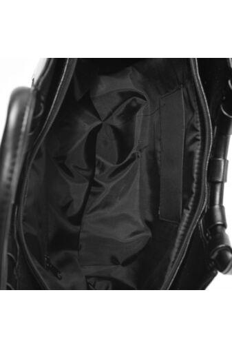 Prestige Fekete Rostbőr-Művelúr Női Kézitáska