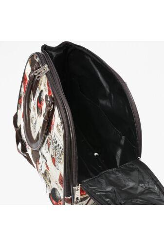 Wizzairméretű Barna Poliészter Női Cipő Mintás Utazótáska  (40*28*20cm)