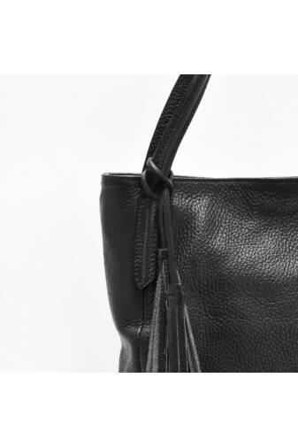 Fekete Nagy Méretű Valódi Bőr Borse In Pelle Női Válltáska