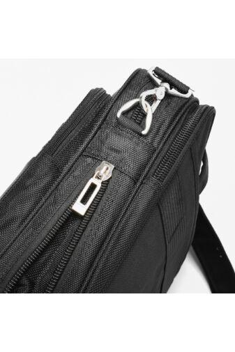Bővíthető Sokzsebes Fekete Szövet Laptop Táska