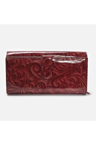 Piros Valódi bőr - lakk Rovicky virágmintás női pénztárca