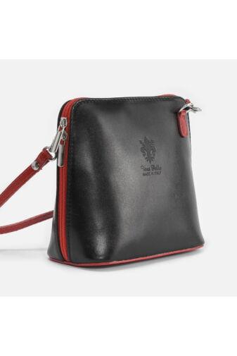 Fekete / piros Vera Pelle Valódi bőr mini női oldaltáska