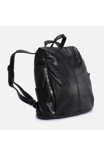 Fekete műbőr lopásgátlós 2in1 hátizsák és válltáska egyben