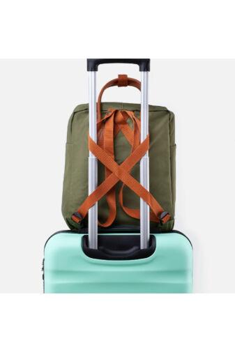 Ryanair, Wizzair Ingyenes Kézipoggyász Méretű Zöld Vászon Gurulós Bőröndre Csatolható Hátizsák