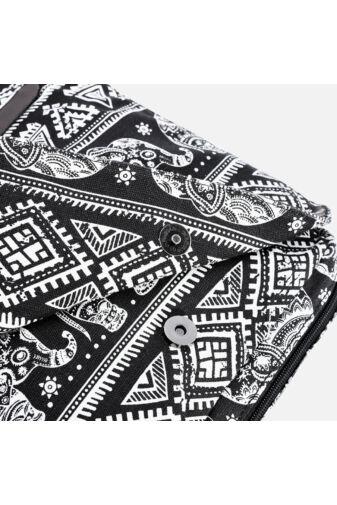 Fekete elefánt mintás oldaltáska